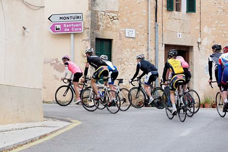Group bike riding in Mallorca