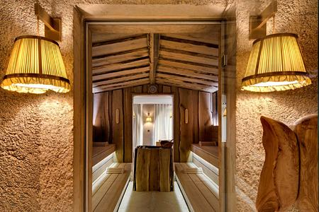 View through a door into a sauna room at Lily of the Valley France