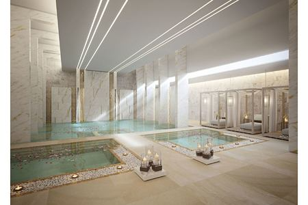 Indoor wellness area with two pools at Chiva Som zulal qatar