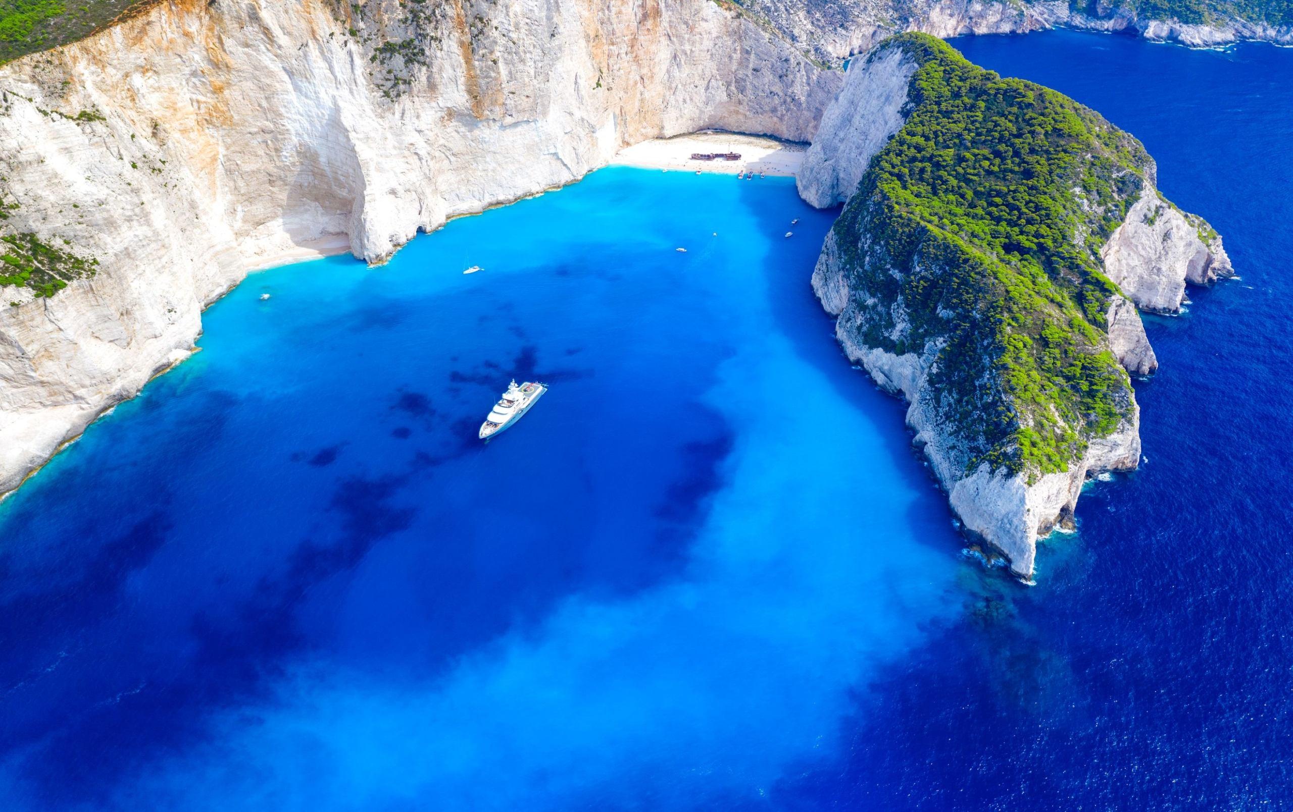 Ariel image of blue waters around shipwreck beach zante