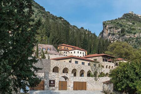 View of Euphoria retreat Greece taken from below