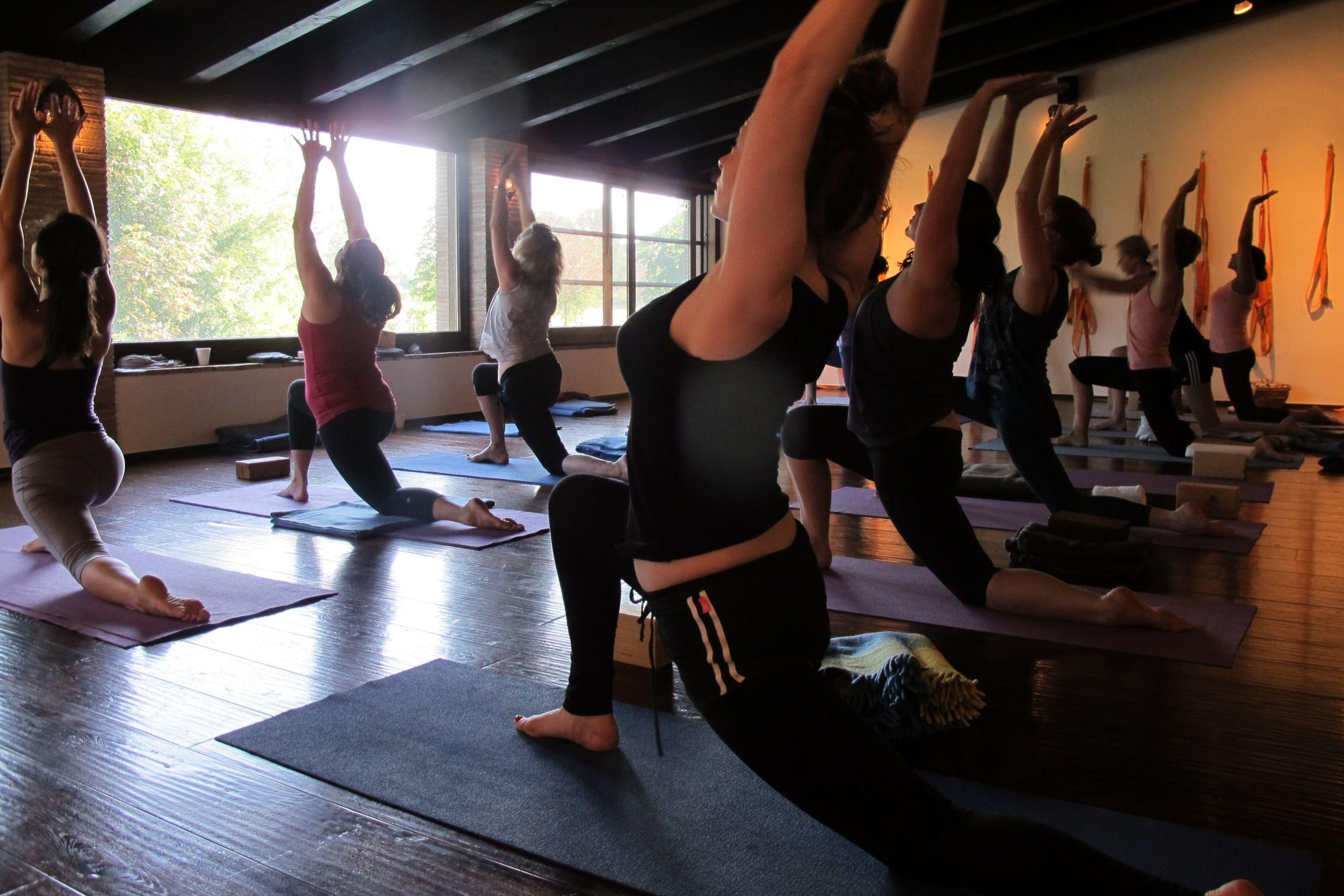 Group of women at yoga class in La Locanda Tuscany