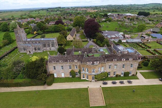 North Cadbury Court south view from the air