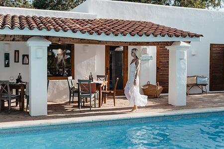 Can Vistabella Ibiza showing poolside terrace-header image