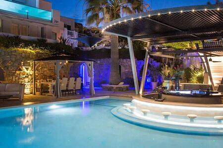 Kivotos Hotel Mykonos the Pool at night-header